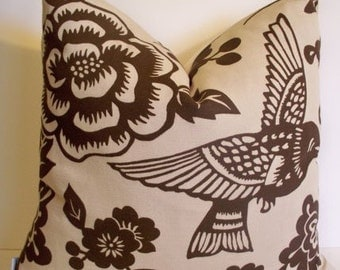 Thomas Paul Bird Pillow Aviary Earth Brown Pillow Cover Brown Bird Pillow Cover