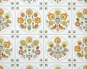 Vintage Wallpaper by the Yard 70s Retro Wallpaper - 1970s Orange and Yellow Scandinavian Floral Geometric Tile with Chickens and Roosters