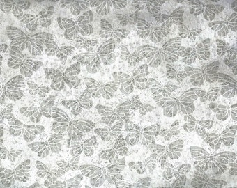 Retro Wallpaper by the Yard 70s Vintage Wallpaper - 1970s Silver and Gray Butterflies
