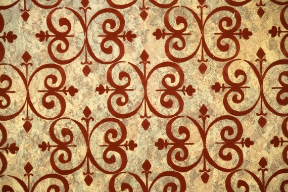 Retro Flock Wallpaper by the Yard 70s Vintage Flock Wallpaper - Burgundy Damask Flock on Metallic Gold