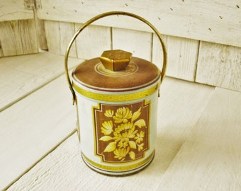 Vintage metal tin faux wood light blue floral honeysuckle retro design English 1960s