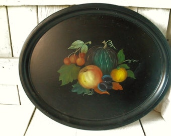Vintage metal tray oval black fruit hand painted lipped Cottage Shabby Chic 1950s