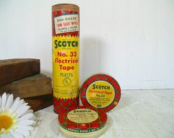 Vintage Scotch Electrical Tape Canisters Trio for Collection Display - Set of 3 Scotch Plaid Advertising Tins - 3M Minnesota Mining & Mfg Co