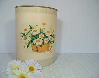 Vintage Ivory Enamel & Gold Tone Metal Nashco Waste Can with Applied Daisies in Berry Basket Litho - Cottage Chic Daisy Art Trash Basket