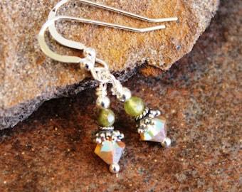 Green Garnet Earrings, Sterling Silver Drop, Handcrafted, Handmade, Artisan, Jewelry, Jewellery, Gemstone, Unique, Dangle, Drop, Jens Fancy