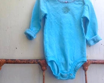 aqua teal turquoise hey tiny one shower autumn winter gift hand dyed embroidered girl rustic onesie prairie baby ooak baby