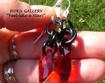 Chainmaille Earrings, Black Aluminum Rings, Red Magma Swarovski Crystal, SS Earwires - Hand Crafted Artisan Jewelry
