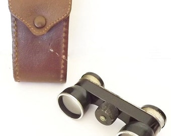 1940s Antique Pride Binoculars with Leather Case, Signed Vintage Binoculars, Made in Japan, Opera Glasses, Hunting Accessories