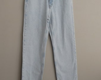 Faded distressed denim jeans / Tommy Hilfiger 80s High Waisted Tapered Skinny Leg Jeans 31 x 33