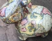 "Coin Bank Old World Map Decoupage Ceramic coin Bank - ""Mrs. Magellan""cow"