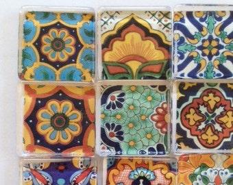 "Magnets Glass Fridge magnets 1"" talavera designs set of 6 glass cabochons"