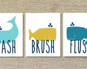 Whales, Printable Wall Art, Bathroom, Brush, Whale decor- File Download