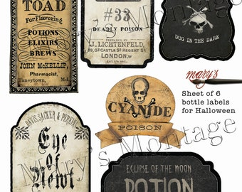 Halloween Bottle Labels, download & print