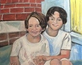 In Progress  Two Precious Boys  Original Oil Painting by Marlene Kurland  30 x 24 Family Portraits, Oil Paintings of Children  SOLD