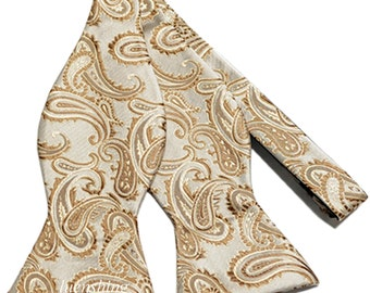 New Micro Fiber Men's Paisley Beige Self-Tie Bow tie only, Formal Occasions (Y)