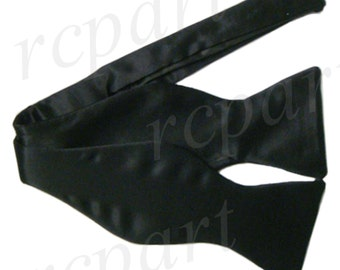 Men's Silk Solid Black Self-Tie Bowtie, for Formal Occasions