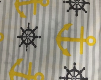 Yellow anchor  fabric by yard