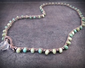 Petite Boho Beaded Necklace, Aqua Turquoise and Silver Accents, Bohemian Crochet Jewelry
