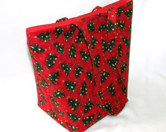 Tote Bag, Christmas Tree Tote Bag, Cloth Purse, Red, Green, Gold, Stars, Ornaments, Handmade Handbag, Holiday Purse, Shoulder Bag