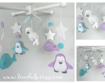 Baby Crib Mobile- Artic, Antartic Crib Mobile-Whale, Seal, Polar Bear, Penguin and snowfalke Mobile-Custom Made Mobile