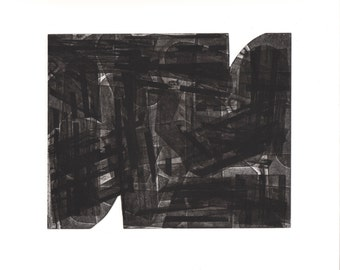 "Enjoy 30 % off -use THX30 Etching . Abstract  . Geometric .Black and White: ""Hodden 4"". Print Size 12"" x 14"". unframed"