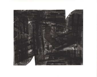 "Etching . Abstract  . Geometric .Black and White: ""Hodden 4"". Print Size 12"" x 14"". unframed"