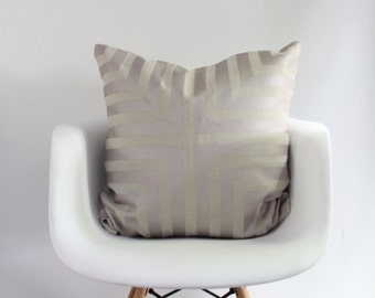"Doha 24x24"" pillow cover in metallic blush pink hand printed on greige hemp"