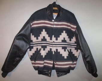 Wool Jacket w/ Leather Sleeves // Snap Front, Navajo Label, Made in USA...large