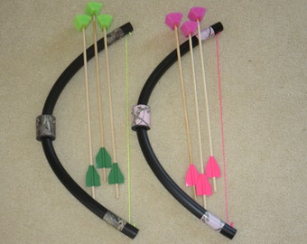 Mini Bows and Arrows pack, little kids archery toys, fun games and activities, lawn and yard bows and arrows