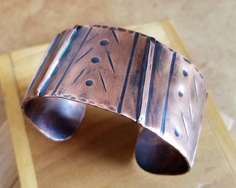 Fold Formed Copper Cuff Bracelet w/ Stamping & Mixed Textures, Copper Bracelet, Copper Cuff, Rustic Jewelry
