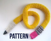 Pencil Scarf pattern - Instant Download PDF Knit PATTERN for Pencil Scarf -  Fun scarf pattern - Back-to-School scarf - Teacher Gift