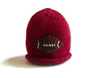 Baby Boy FOOTBALL Hat - handknit infant hat - sports hat - knit baby hat - knitted baby hat - knitted baby beanie  - baby shower gift