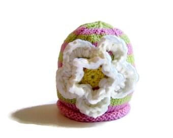GIRL'S Winter Hat - child's winter hat - kid's beanie hat - preppie hat - flower hat - gift for a girl -  toddler beanie hat - kid's hat