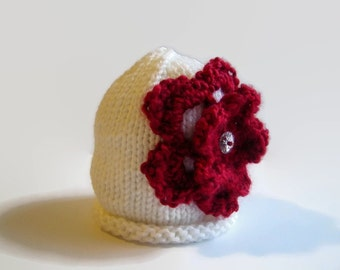 Knit Toddler Hat - knit flower cap - kid's knitted hat - knitted beanie cap - knitted girl's hat - girl's hats - flower hat - girl's hat