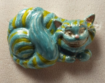 Kirks Folly Original/Vintage Cheshire Cat Alice In Wonderland Pin Gold Tone  Blue/Green