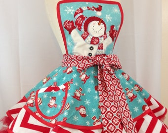 Christmas Apron In Snowman print In Aqua and Red, Let It Snow