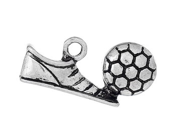 5 SOCCER BALL and SHOE Cleat Charms, Silver Tone Pewter Pendants, chs2073