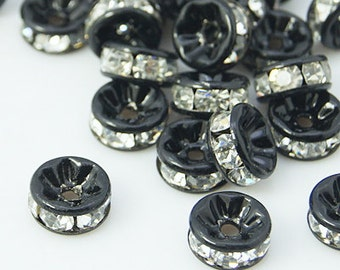 10mm BLACK Rondelle Beads with Clear Rhinestone Crystals, 10 pieces . Smooth Edge, black core  bme0371