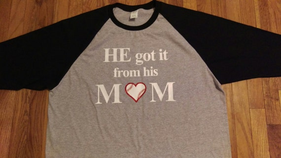 He Got It From His Mom Adult T Shirt Raglan Heart Gray Black