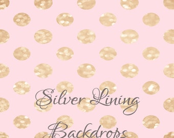 6'x7' Photography Backdrop Photo Prop Vinyl Gold & Pink GLITTER Dots CUSTOMER FAVORITE