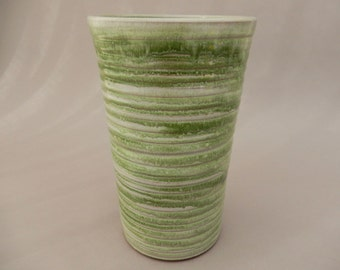Vase - Tall Green Pottery Vase