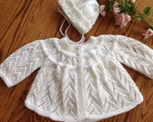 Snow White sweater and bonnet set 3-6 months
