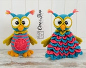 Combo Pack - Quinn the Owl Lovey and Amigurumi Set for 5.99 Dollars - PDF Crochet Pattern Instant Download - Special Offer