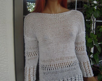 cotton sweater/romantic handmade knitted in white all season sweater gift idea for her women clothing size M by goldenyarn