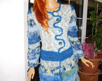 SALE jacket cardigan handmade knitted  sparkle in blue romantic for a night to theatre,races cruise wear  gift idea by golden yarn
