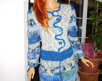 jacket cardigan handmade knitted  sparkle sweater in blue romantic jacket for a night to theatre,races cruise wear  gift idea by golden yarn