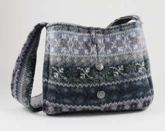 FELTED GRAY WOOL Shoulder Bag w Vintage Buttons / Fair Isle Design (Ooak) From Upcycled Gray, Purple & Tan Wool Sweater / Eco Friendly