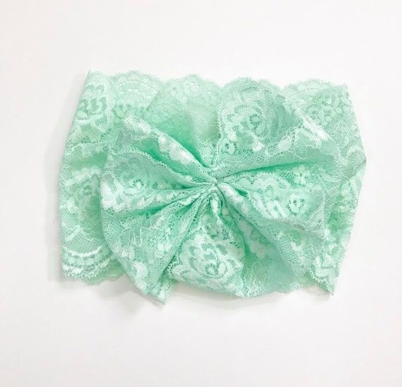NEW PALE MINT Lace Oversized Wrap with Cinched Finished or Bow Finish - stretch head wrap/turban/headband / adult / winter/ fall child baby