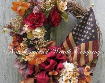 FALL SALE Fall Wreath, Autumn Wreath, Patriotic Wreath, Williamsburg Wreath, Elegant Patriotic Wreath, Fall Floral Wreath, Tea Stained Flag