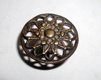 Vintage Cast Brass Drawer Pull Round 1960s French Provincial Hardware Flower Head Furniture Knob